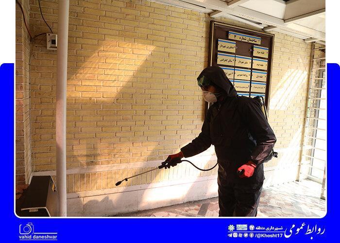 نصب و استقرار تونل و دستگاه ضدعفونی کننده در ساختمان شهرداری منطقه17
